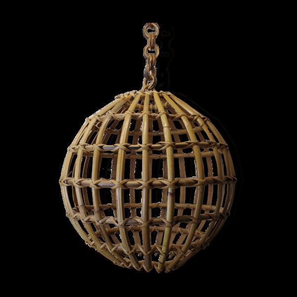 Suspension en bambou et rotin, années 1960