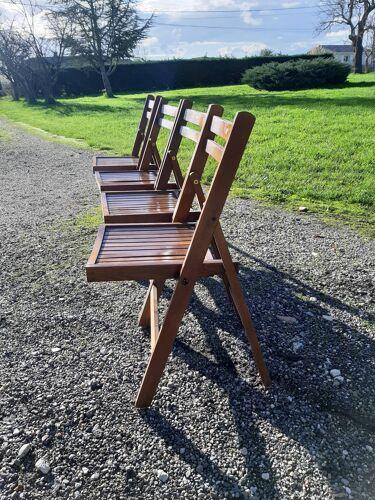 4 chaises bois pliantes vintage des années 60