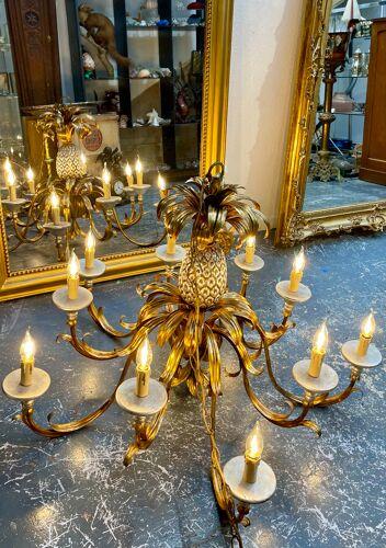 Grand lustre ananas diamètre 102 cm des années 50/60