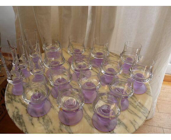 Ensemble de 18 verres vintage 70 Murano