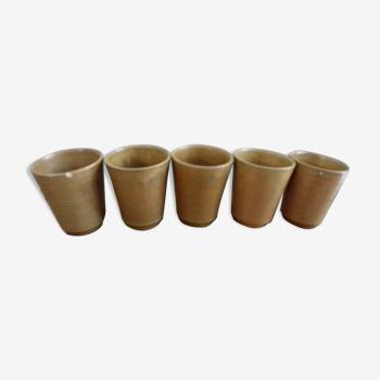 5 mugs Digoin en grès