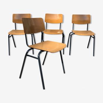 Lot de 4 chaises vintage Arhend Hollande
