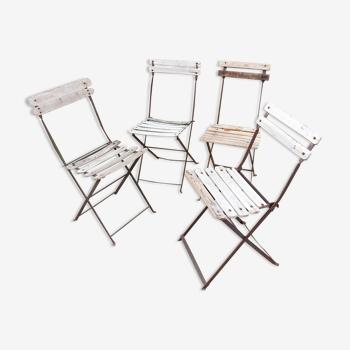 Série 4 chaises bistro pliantes vintage bois et fer forgé