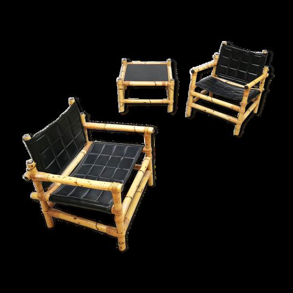 Ensemble de 3 fauteuils de safari suédois de conception de midcentury et ottoman