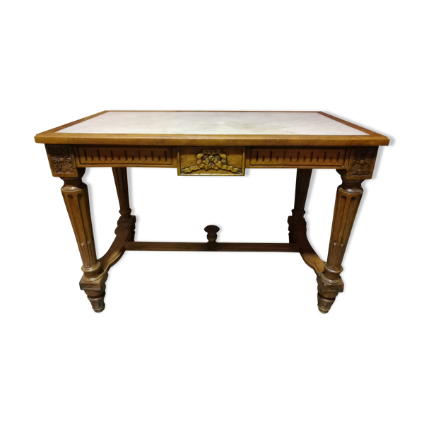 Selency Table style Louis XVI en noyer et marbre