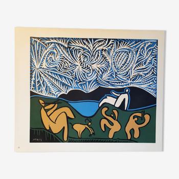 Bacchanal avec Goat Linocut de Pablo Picasso,1962
