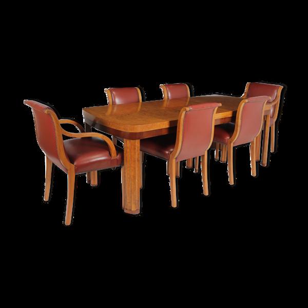 Table à manger art déco anglaise et chaises vers 1930