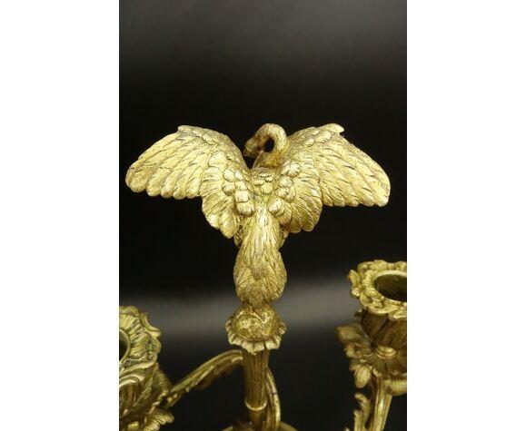 Paire de bougeoirs au héron, style Louis XV