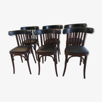 Suite de 6 chaises de bistrot vintage années 1960