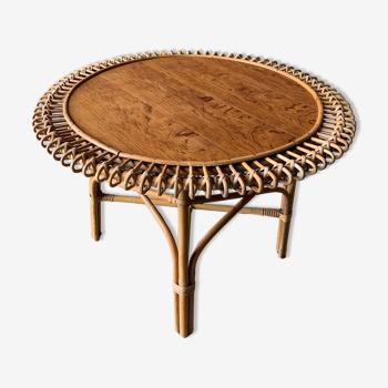 Table basse vintage en rotin -1950's