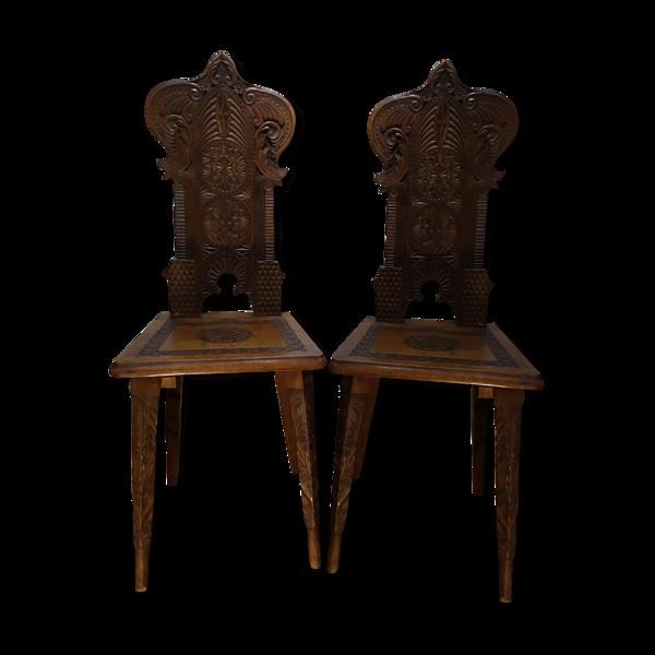 Selency Paire de chaises escabelles