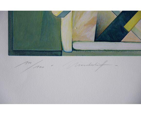 Sérigraphie Mondschiff, original de Peter Foeller, 1990