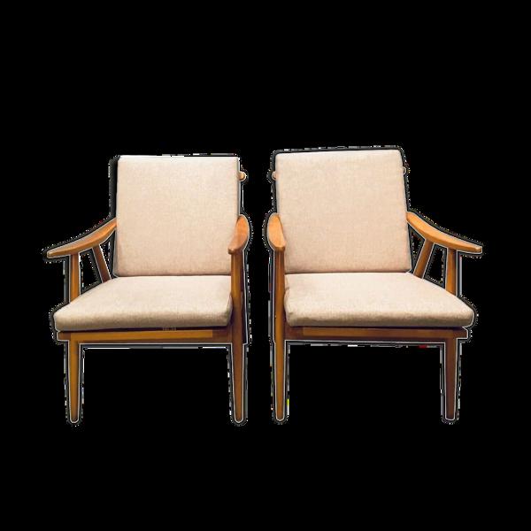 Paire de fauteuils Thonet vintage 1960