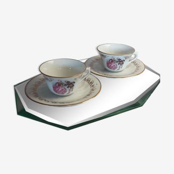 Set 2 tasses et soucoupes porcelaine vintage