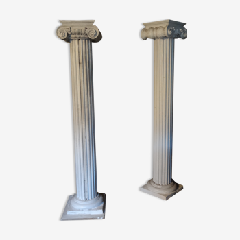Paire de colonnes ioniques en plâtre H 2,25 m