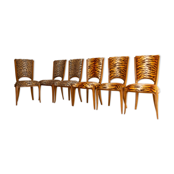 Suite 6 chaises art déco faux panthère et faux tigre