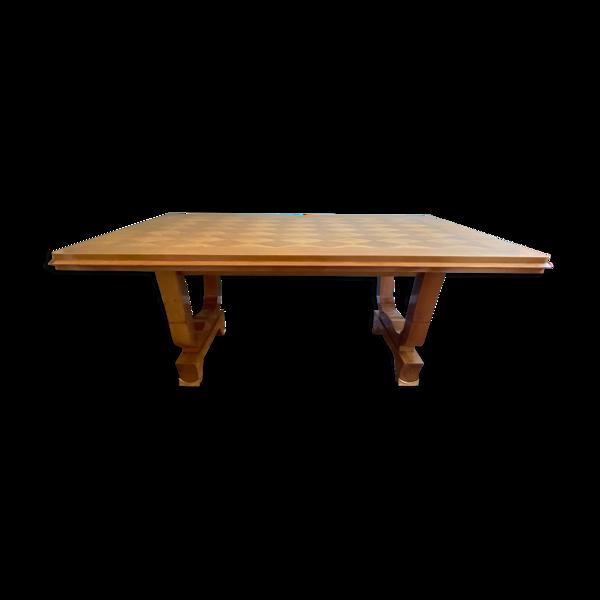 Selency Table art déco en frêne décor marqueté ornementation en bronze