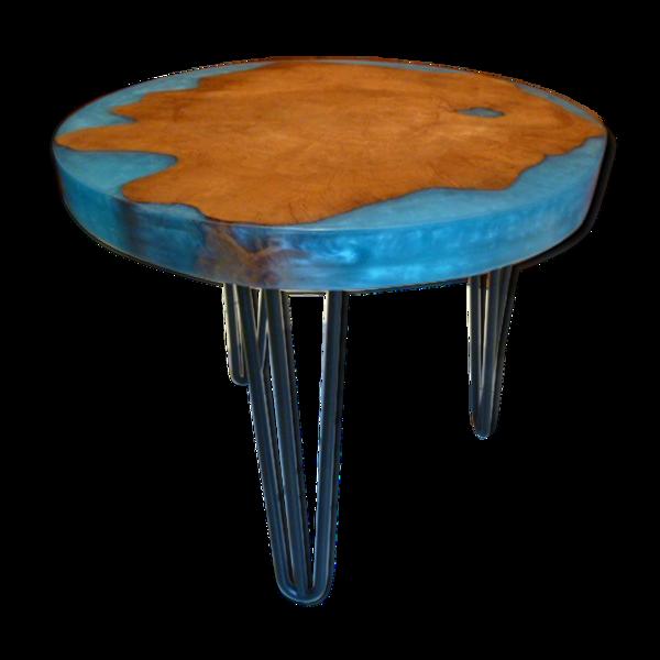 Selency Table basse ovale bois & résine