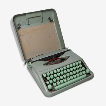 Machine à écrire Hermès Baby verte 1960 révisée et ruban neuf