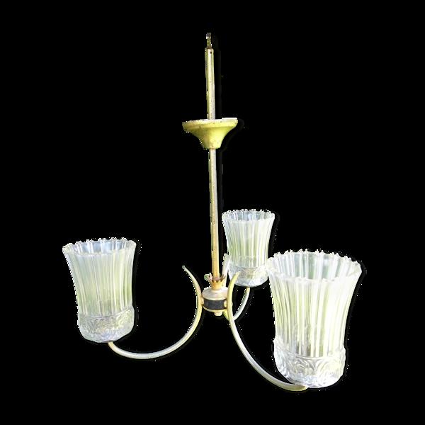Lustre 3 bras de lumière, années 50/60 vintage, tulipes verre