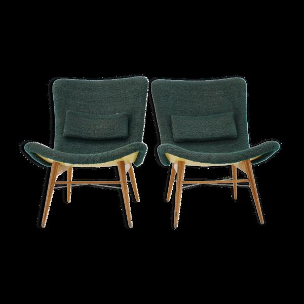 Paire de fauteuils Miroslav Navratil Shell des années 1960 Tchécoslovaquie
