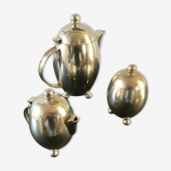 Service à thé ou café Art Déco en métal argenté