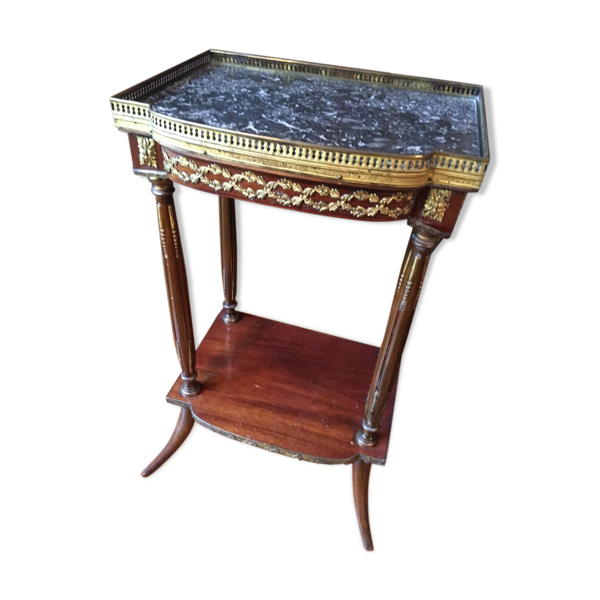 Selency Table volante en acajou et laiton fin XIXEME