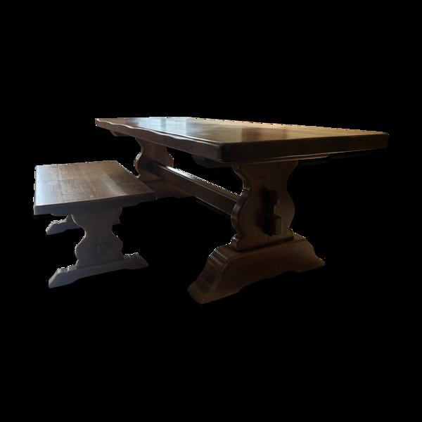 Ensemble table de ferme monastère chêne massif