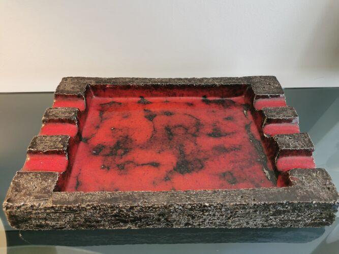 Cendrier brutaliste en céramique années 70