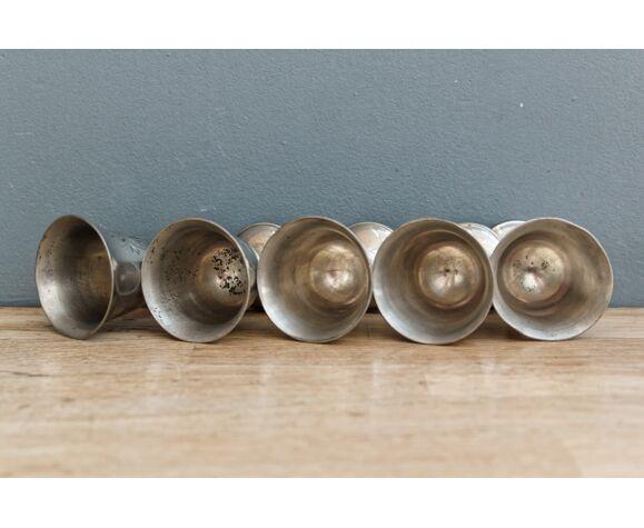 Set of 5 metal shells, monogrammed