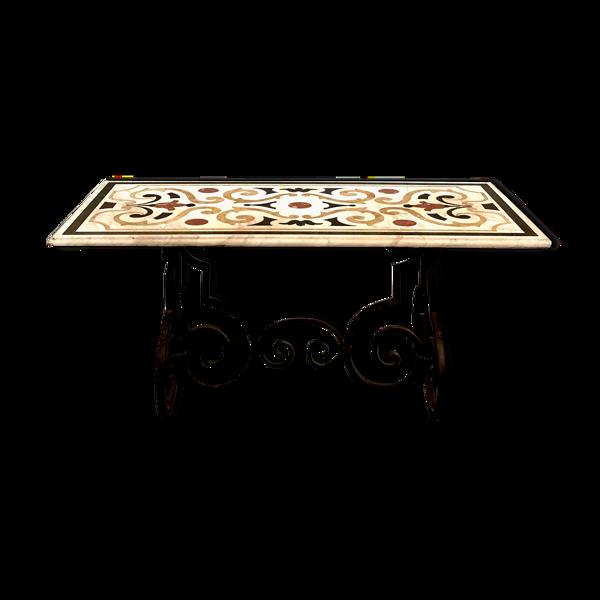 Selency Table en fer forgé et plateau de marbre, XIXe siècle
