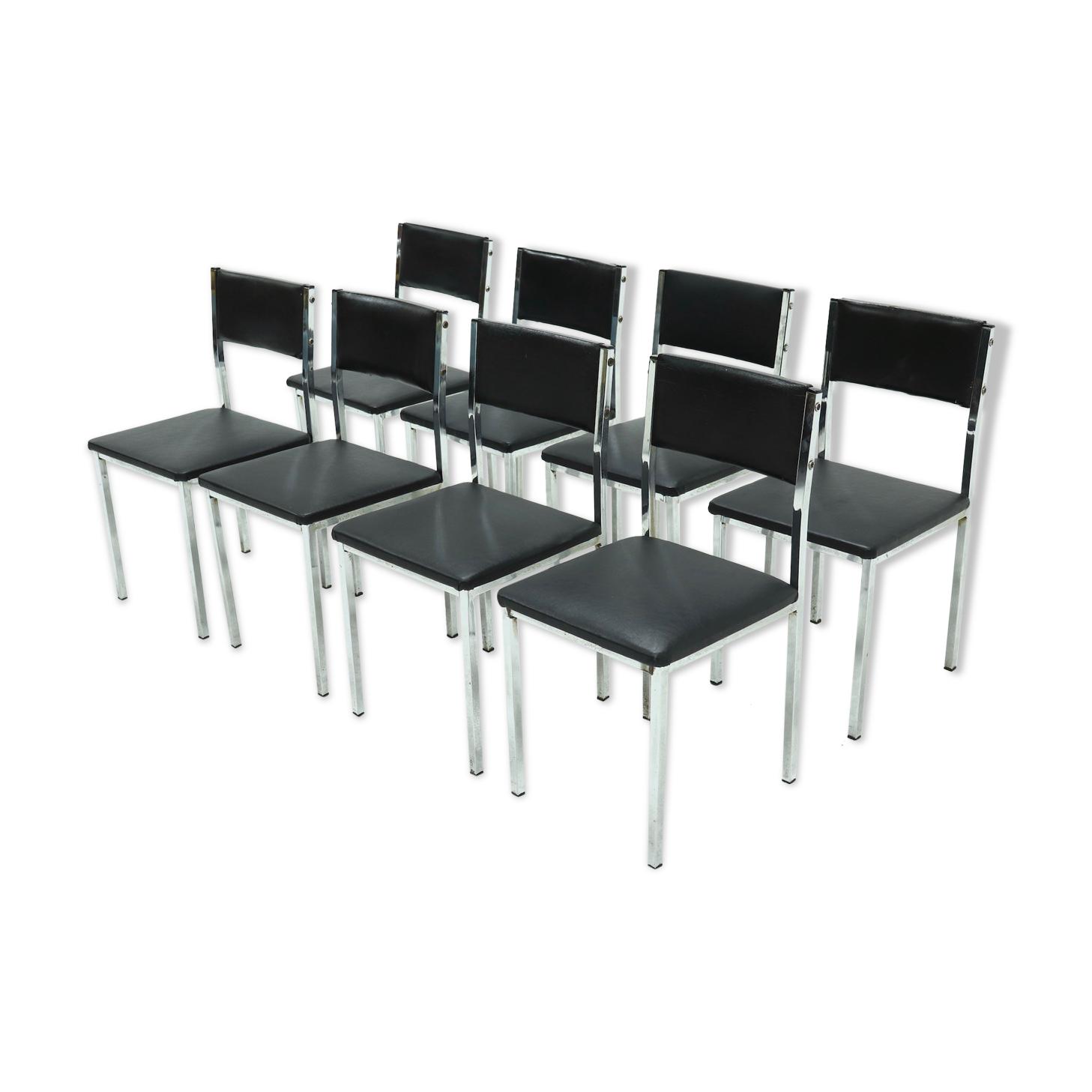 Ensemble de 8 chaises de salle à manger minimalistes en acier chromé des années 1970
