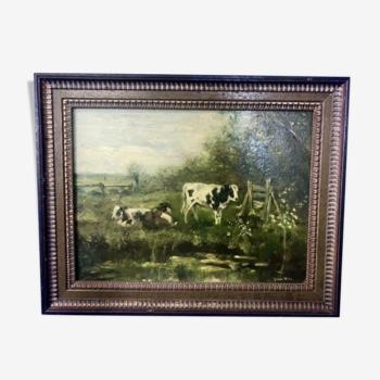 École hollandaise - paysage avec vaches - peinture à l'huile