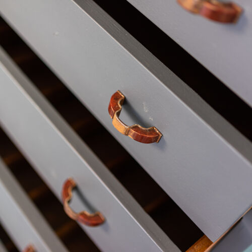 Armoire optique commode en bois métal os des années 40 modernié vintage