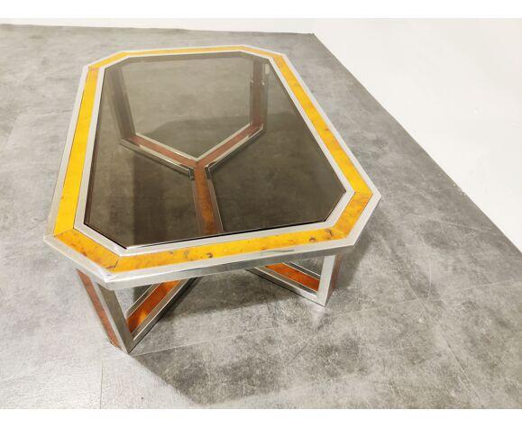 Table basse en bois chromé et burl vintage, années 1970
