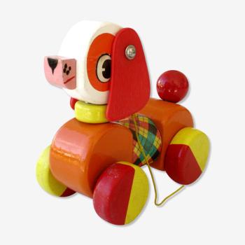 Ancien jouet à tirer en bois, chien educalux, corps articulé