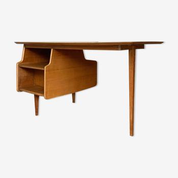 Bureau vintage Jacques Hauville en chêne