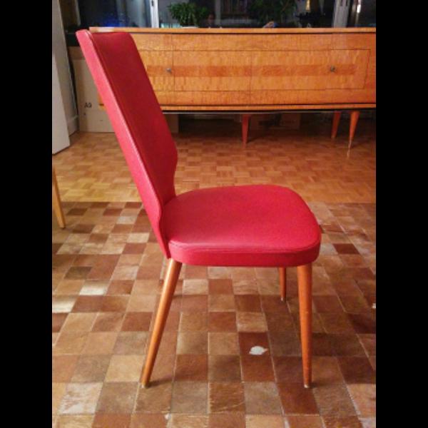 Paire de chaises en skaï rouge