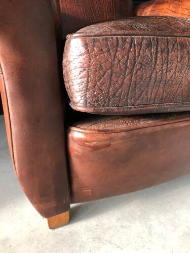 Fauteuil club en cuir basane