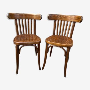 Paire de chaises bistrot baumann bois courbé