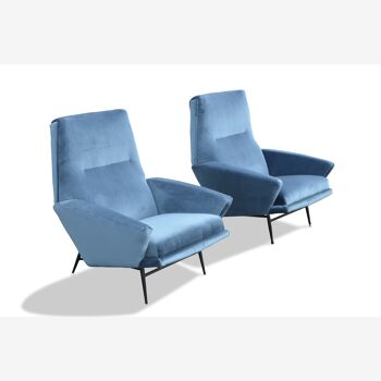 paire de fauteuils de Guy Besnard 1962 velours bleu