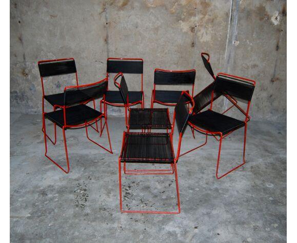 Ensemble de 8 chaises empilables 'Scoubidou' vintage