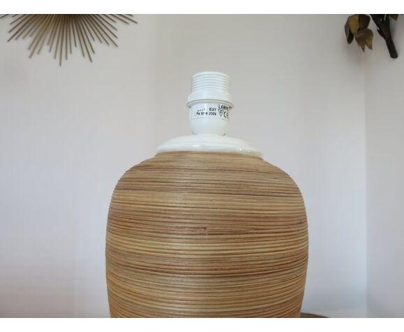 Rattan lamp and ceramic 80s