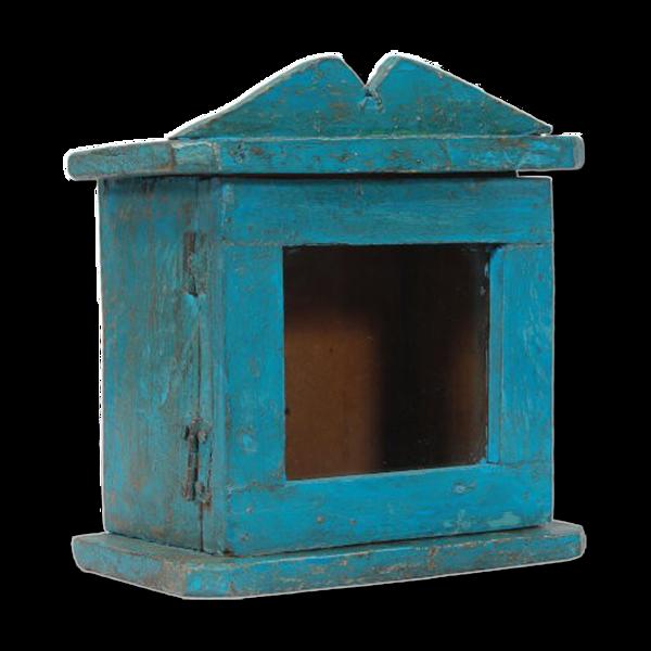 Vitrine murale petite ancienne boite a horloge patine bleue d'origine inde