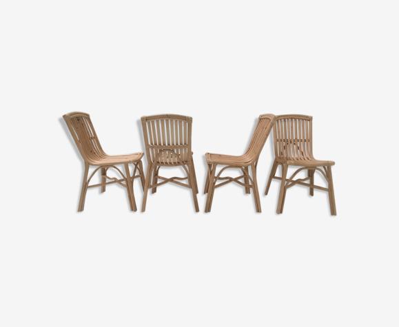 Suite de 4 chaises en rotin