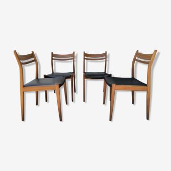 Série de 4 chaises scandinaves palissandre