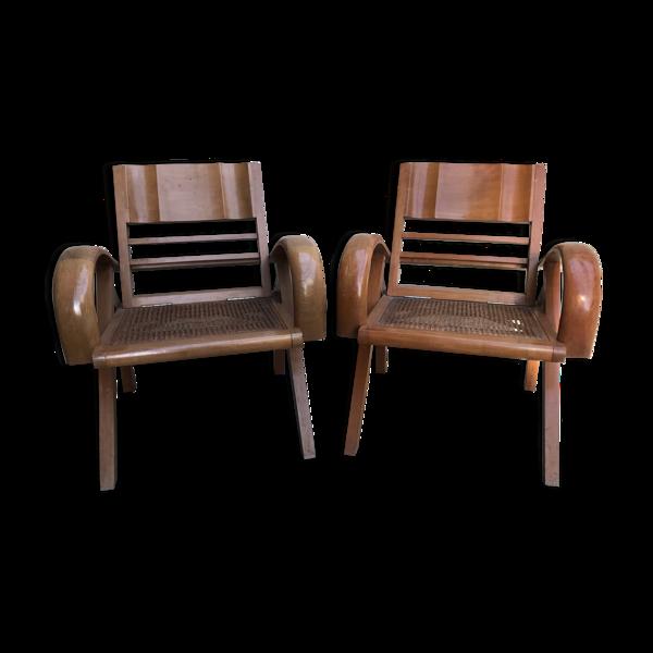 Paire de fauteuils paquebot des années 40/50