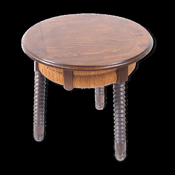 Table bois et rotin