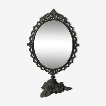Ancien miroir psyché en bronze 50cm