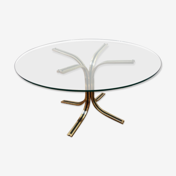 Glass round table - design 70s - Hollywood Regency